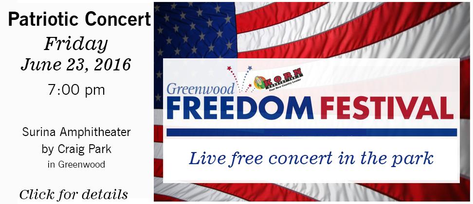 Greenwood Freedom Festival free concert 2017
