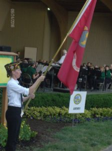 Displaying the colors at Greenwood Community Band's concert for Freedom Festival