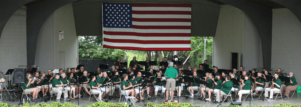 2018 Greenwood Concert Band members on stage